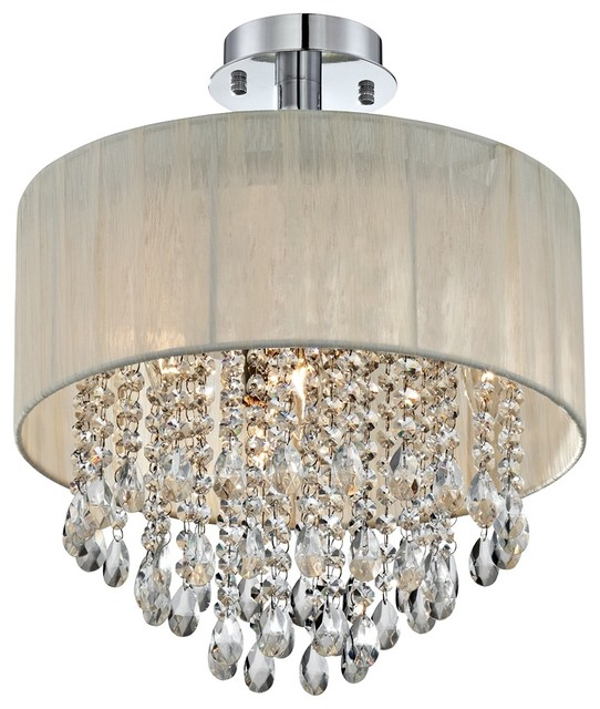 Possini Euro Jolie Antique Ivory Shade Crystal Ceiling Light contemporary-flush-mount-ceiling-lighting