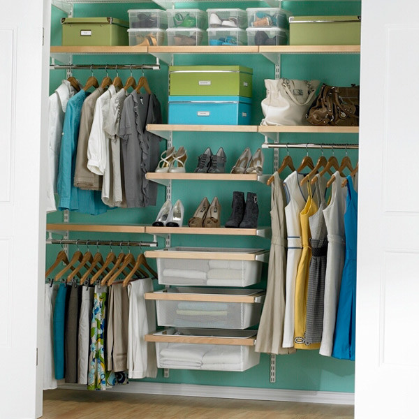 attic organisation ideas - Birch & White elfa décor Chic Reach In Closet
