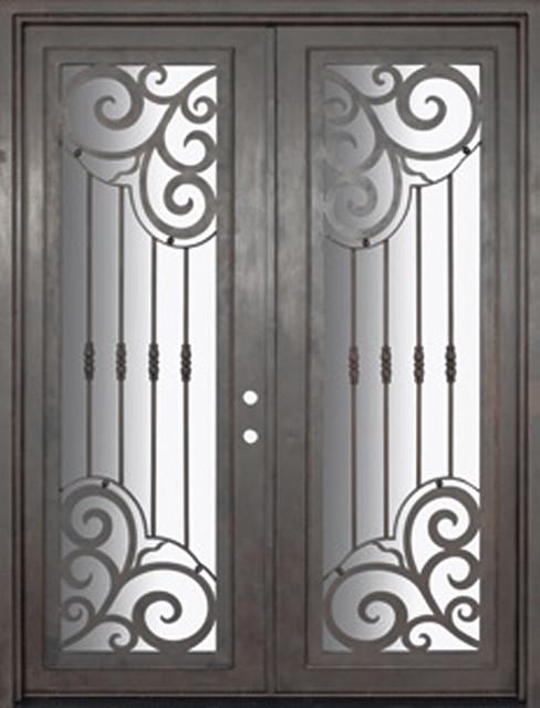 Barcelona 72x96 Forged Iron Double Door 14 Gauge Steel - Mediterranean - Front Doors - tampa ...