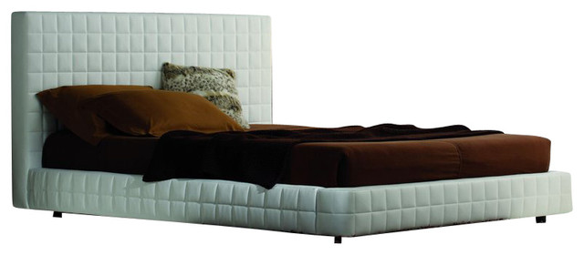 Rossetto Alix Tall Headboard Platform Bed in White-King transitional-beds