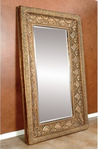 Gold ornate leaning floor mirror 52w x 89h in for Gold standing mirror