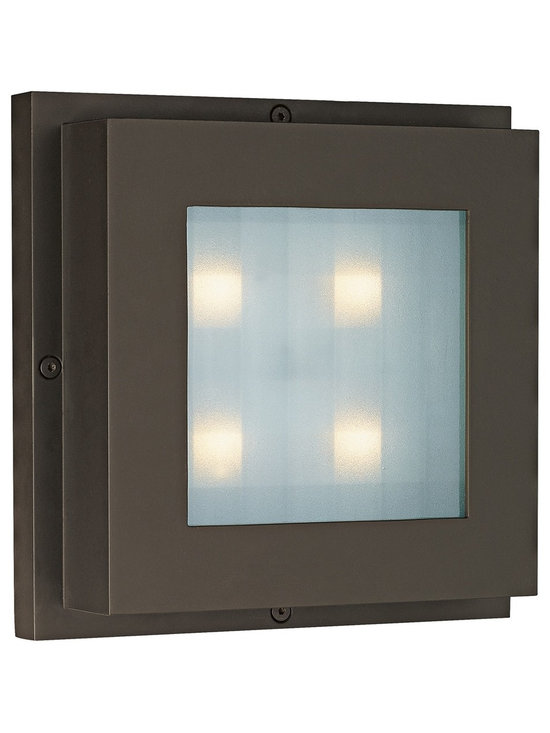 """CSL - CSL Level Bronze 6 3/4"""" Wide LED Wall/Ceiling Light - This contemporary outdoor wall and flush mount light offers smart styling aluminum construction and a warm bronze finish. Inspired illumination is produced by four energy efficient LED lights beneath a frosted grid glass diffuser. This gorgeous design by CSL is a great choice for adding distinctive accents to your outdoor wall or ceiling. Wet-location rated means added versatility for placement. Aluminum body. Bronze finish. Includes four 1 watt LEDs. 6 3/4"""" high. 6 3/4"""" wide. 1 3/4"""" deep. LED rated at 2800K 240 lumens.  Aluminum body.   Bronze finish.   Includes four 1 watt LEDs.    6 3/4"""" high.   6 3/4"""" wide.   1 3/4"""" deep.   LED rated at 2800K 240 lumens.  Comparable to a 30 watt incandescent."""