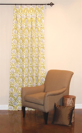 Artichoke Damask Drapery in Pistachio contemporary-curtains