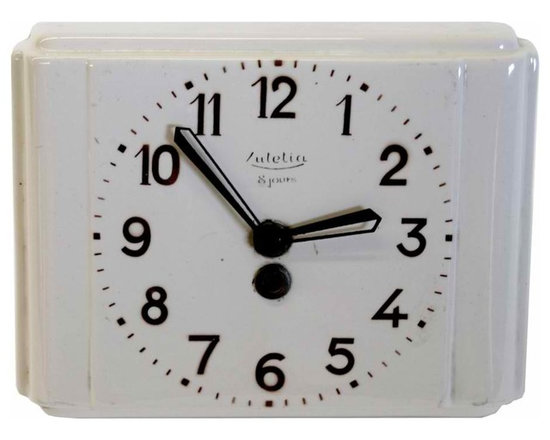 Ceramic Kitchen Clock - Made in France in the 1920's this  clock is made with ceramic so it could be used in a kitchen.