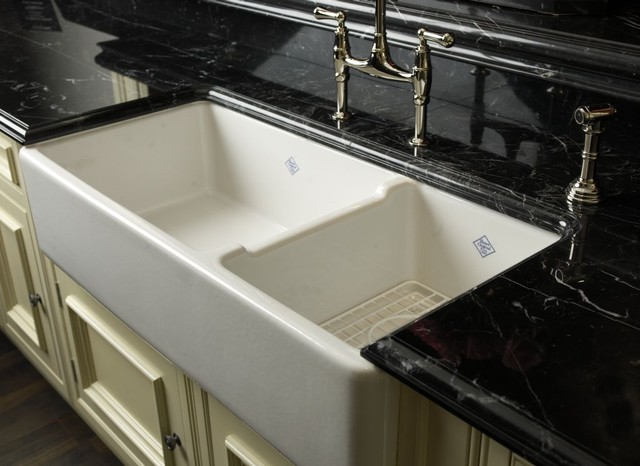 Rohl Shaws Original 1 1  2 Bowl Fireclay Apron Kitchen Sink