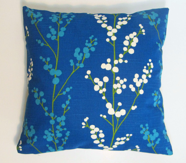 Modern Floral Pillows : Royal Blue Cream Modern Floral Pillow Cover Set - Modern - Decorative Pillows - by Asmus Home ...