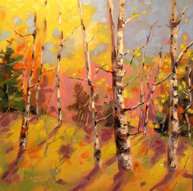 Aspen shadows original oil painting contemporary for Contemporary mural artists