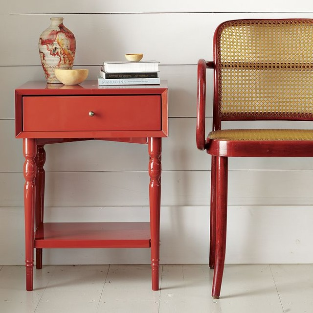 Turned leg nightstand vermillion modern nightstands for Modern bedside tables nightstands