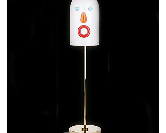 Venini - Mae West Face Floor Lamp - Mae West Face Floor Lamp features a hand blown glass Face diffuser in White, Blue, Amber and Red with a Gold finish. This is a Numbered Limited Edition. One 25 watt, 120 volt JCD type G9 base halogen bulb is required, but not included. 11.81 inch width x 50.19 inch height.
