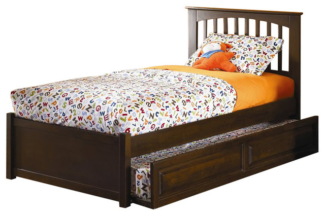 Atlantic Furniture Brooklyn Twin Platform Bed with Trundle transitional-beds