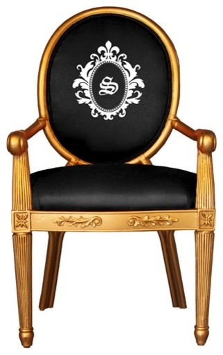 Society Social Gold Monogrammed Chair traditional armchairs