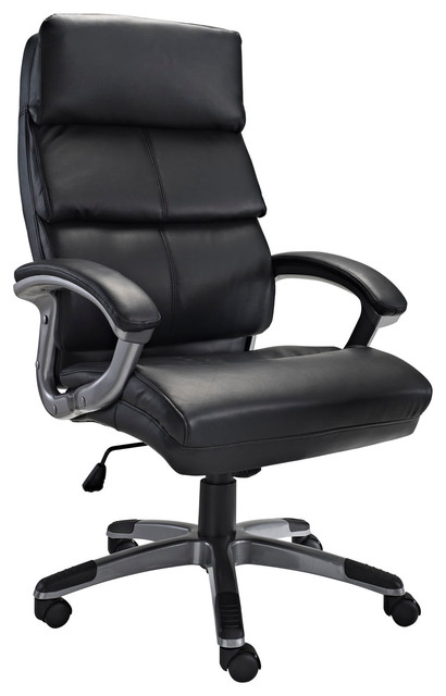 Stellar High Back Ergonomic Executive Office Chair in Black Vinyl ...