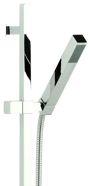Modern Kubix Chrome Square Slider Rail Shower Kit with Slim Handset Hand Sprayer modern-showers
