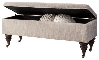 Threshold End of Bed Bench with Casters, Pewter - traditional