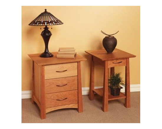 KYOTO 3 DRAWER NIGHT STAND AND SMALL OPEN NIGHT STAND - In honor of the city that is home to many of the most stunning shrines and temples in Japan, the Kyoto collection was inspired by the majestic lines of traditional Tori gates.