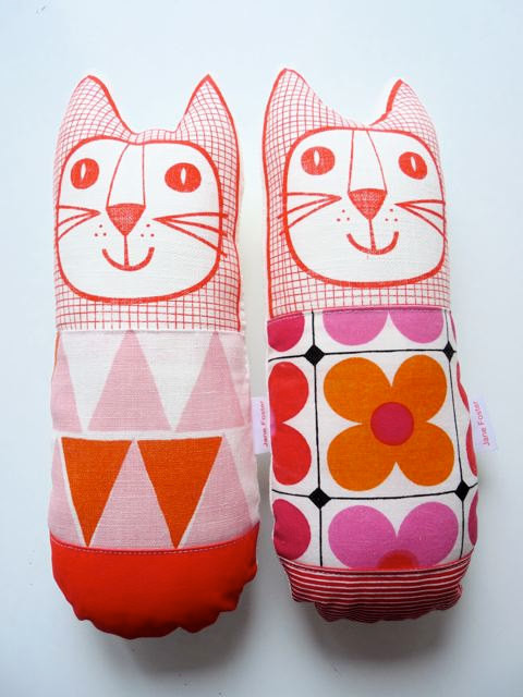 Scandinavian Plush Toy Cat Softie by Jane Foster eclectic kids toys