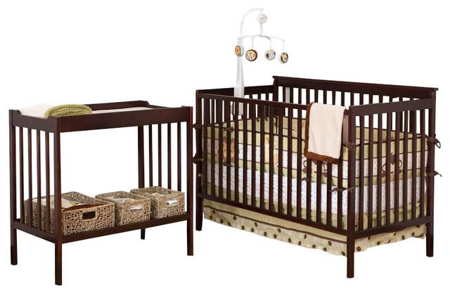 Stork Craft Milan 2-in-1 Convertible Crib & Changer Combo-White transitional-cribs