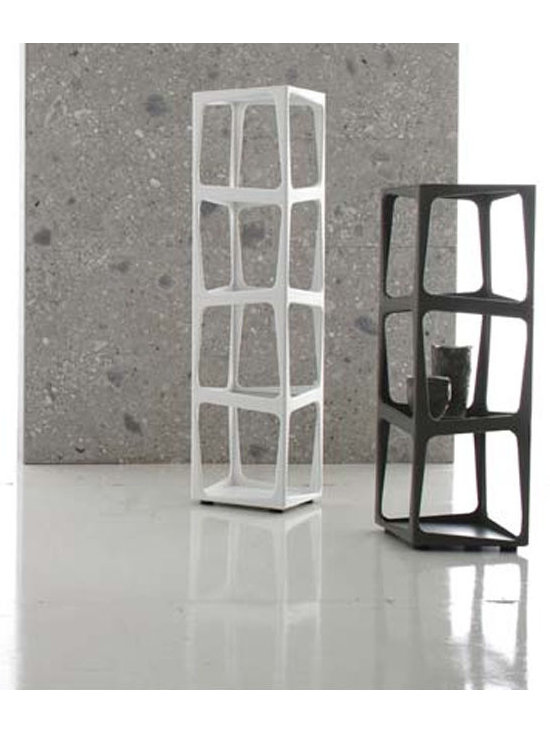 Twist Totem Bookcase - Totem composed of stackable elements in  Hi MACS acrylic stone available in three colors. Central shelf in smoke-grey tempered glass. Available in 1, 2, 3 or 4 cubes and in white, coffee brown or jasmine green Acrylic stone. Weighs about 15 lbs each. Made in Italy.