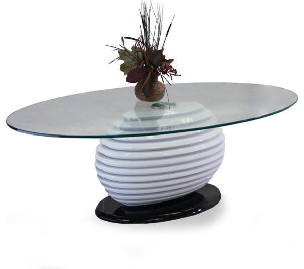 BLACK AND WHITE OVAL GLASS COFFEE TABLE ALICANTE Modern Coffee Tables