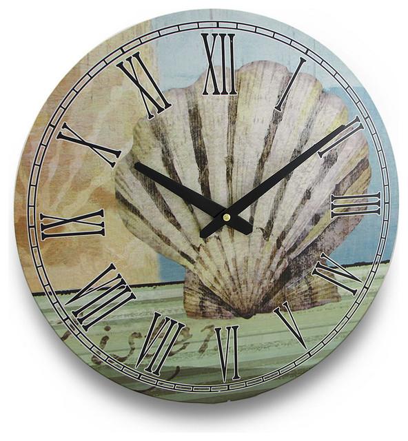 Tropical seashell round nautical wall clock 15 in for Seashell wall clock