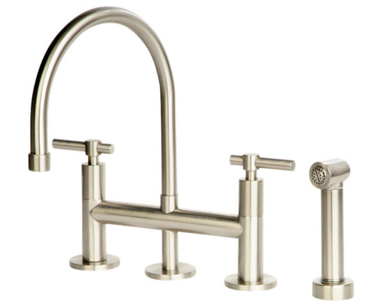 Giagni Dolo Bridge Kitchen Faucet with Spray - Bold enough to compliment a cutting-edge contemporary decor yet subdued enough to accent a softer more classical style the Dolo series from Giagni is ideal for any home.