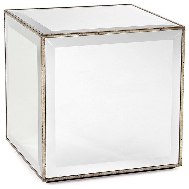 Milly Hollywood Regency Mirror Antique Silver Leaf Cube Side End Table transitional-side-tables-and-end-tables