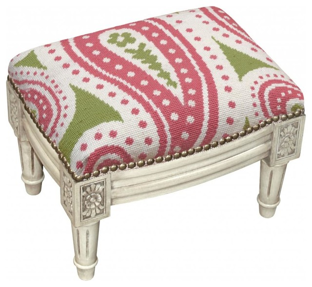 Paisley Wool Needlepoint Wooden Footstool Antique white  : transitional footstools and ottomans from www.houzz.com size 640 x 588 jpeg 85kB