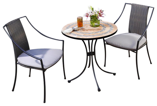 Home Styles Terra Cotta Bistro Table & 2 Laguna Chairs in Terra Cotta transitional-patio-furniture-and-outdoor-furniture