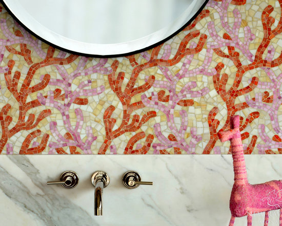 Erin Adams - Coral - Coral, a hand cut glass mosaic shown in Rose Quartz, Sardonyx, and Agate, is part of the Erin Adams Collection for New Ravenna Mosaics.