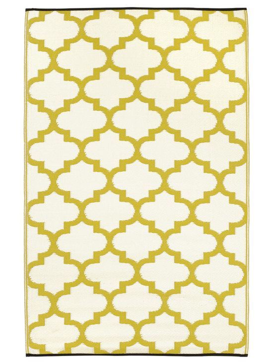 Fab Habitat - Tangier Rug, Celery & White, 6x9 - Just because indoor/outdoor rugs are so practical, it doesn't mean they have to look rugged. This one's Moroccan-inspired pattern is more stylish than recycled plastic has any business being. Washable, lightweight and reversible, you can take it on the lawn for picnics, leave it on the pool deck for sunbathing or put it in the kitchen for a mess resistant pop of color.