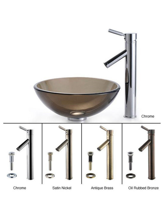 """Kraus - Kraus C-GV-103-14-12mm-1002CH Clear Brown 14"""" Glass Vessel Sink & Sheven Faucet - Add a touch of elegance to your bathroom with a glass sink combo from Kraus"""