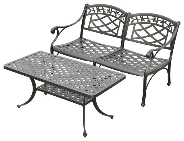Sedona 2-Piece Cast Aluminum Outdoor Conversation Seating Set traditional-outdoor-lounge-sets