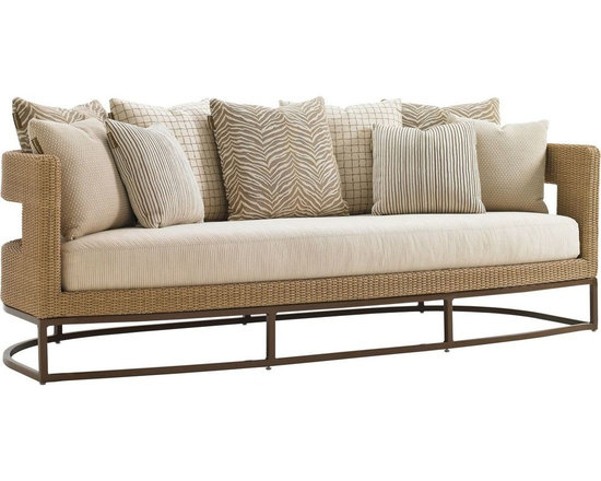 Lexington - Tommy Bahama Aviano Sofa - The five 22-inch scatter back pillows and four 18-inch weather guard throw pillows provide a wonderful opportunity to use correlates and colors in creating your own space. The soft contemporary natural seagrass finish and mocha finished frame is an ideal backdrop for any color palette.