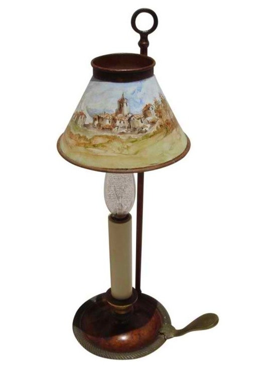 Antique French Boulliote Lamp - French Antique Boulliotte Lamp. I had an incredible artist do a miniature custom oil painting of a European country scene on shade.