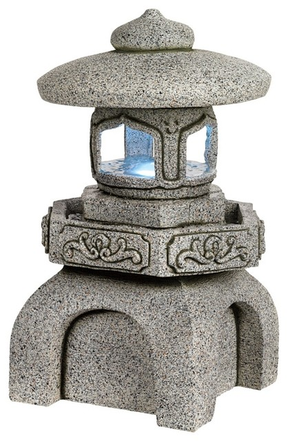 Temple Pagoda Small Outdoor Fountain with LED Light