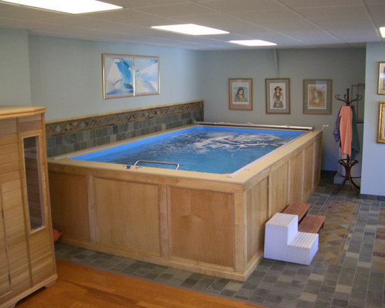 Original Endless Pools®, Basement Pool - A finished basement gets a new twist, courtesy of Endless Pools. With its blonde wood skirting, this Pool well suits the traditionally appointed room.