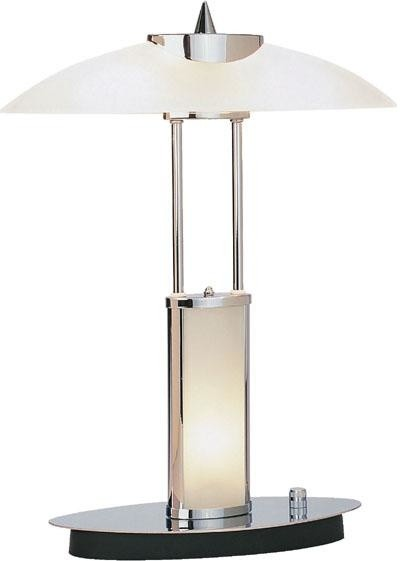 Table lamp chrome frosted glass shade 40wx2 and b type bu Types of table lamps