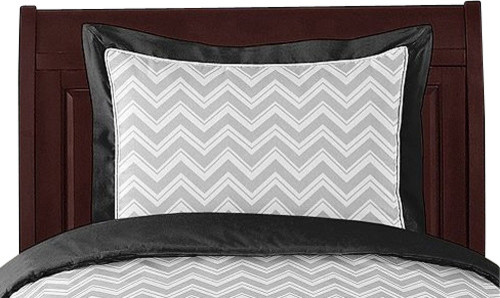 Zig Zag Black and Gray Pillow Sham by Sweet Jojo Designs traditional-decorative-pillows