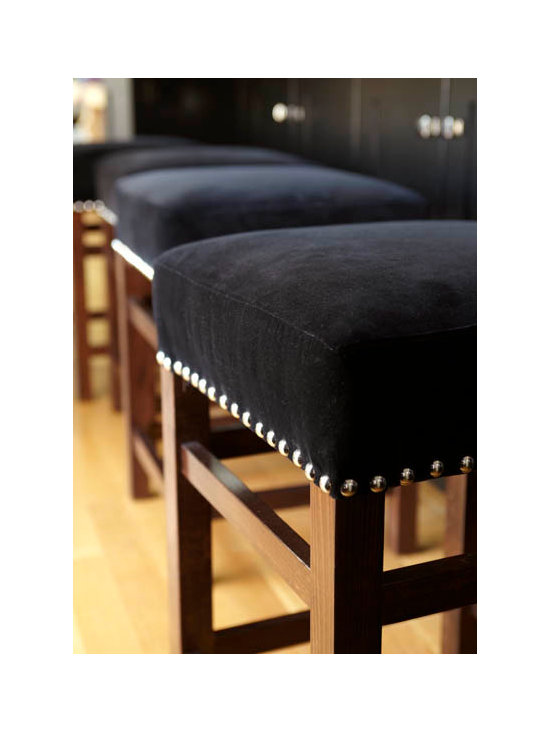 Velvet Counter & Bar Stools - Stools can be made with custom fabric and nailheads.