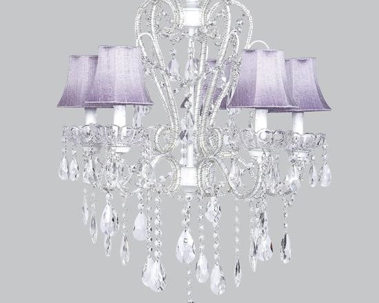 Belle & June - Carousel Lavender Chandelier - This strikingly elegant carousel chandelier features lavender shades and hanging crystals throughout. Hang this whimsical and feminine chandelier in  your little girls bedroom or nursery.