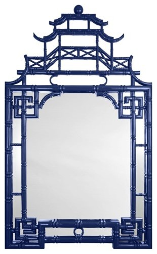 Blue Lacquer Pagoda Mirror traditional-wall-mirrors