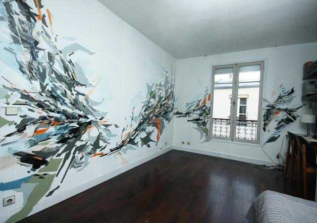 fresque murale dans un appartement. Black Bedroom Furniture Sets. Home Design Ideas