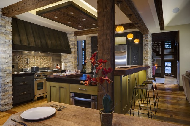 Layered Kitchen Lighting Rustic Kitchen Denver By