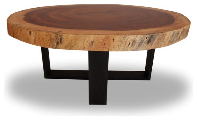 Round Solid Wood Table Blackened Metal Base Contemporary Coffee Tables By Rotsen Furniture