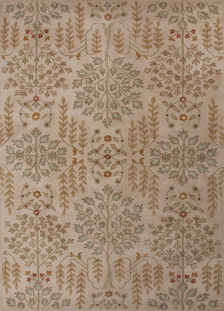 Transitional Arts & Crafts Pattern Gold /Yellow Wool Tufted Rug - PM84, 2x3 traditional-rugs