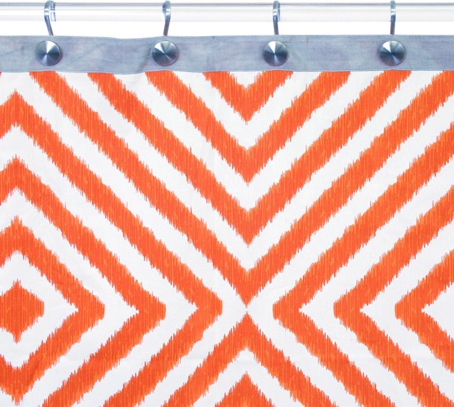 Jonathan Adler Arcade Orange Gray Shower Curtain Eclectic Shower Curtains