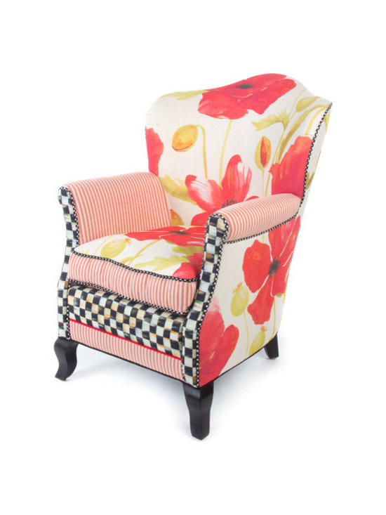 Poppy Parlor Chair | MacKenzie-Childs - Like sitting in an impressionist painting; a truly exquisite experience. Dreamy watercolor florals in crimson and chartreuse tones, ticking stripes, checked accents and piping, and vines and bright blossoms that pop. Even if you reside in the harshest of concrete jungles, Poppy Furniture provides a respite as welcome and inviting as the secret garden you've long imagined. Equally sublime as a separate seat or grouped together.