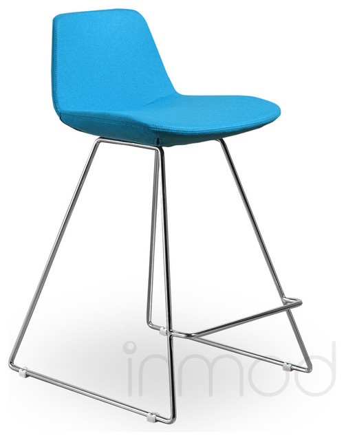 Para Csb Counter Stool Set Of 2 Turquoise Wool Fabric Modern Bar Stools And Counter