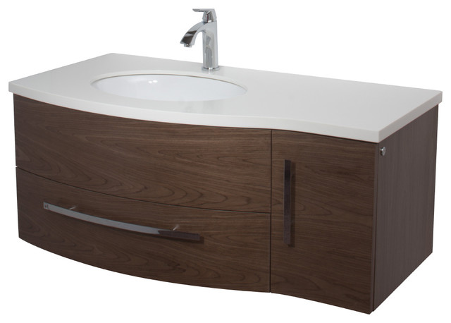 Vigo 44 Inch Single Bathroom Vanity Walnut Without Extras Modern Bathroom Vanities And