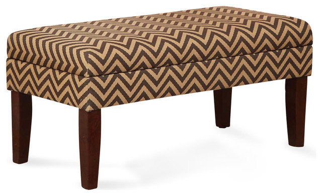 Chocolate Tan Chevron Decorative Storage Bench Contemporary Bedroom Benches By Michael